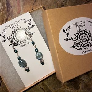 Casey Keith Design Jewelry - Long drippy Pearl & kyanite Earrings